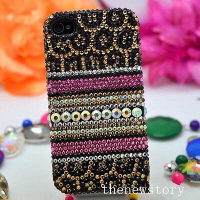 For Various Mobile Phones Bling Cheetah Print Luxury Crystals Rhinestones Case