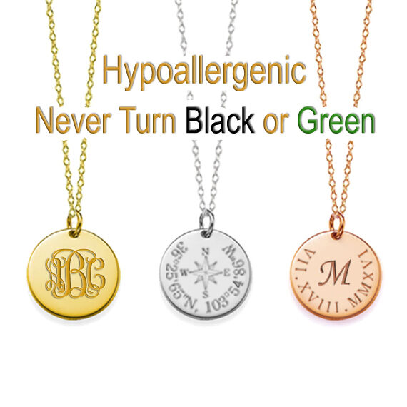 """Personalized Name 3/4"""" Disc Necklace Custom Engraved Any Nam"""