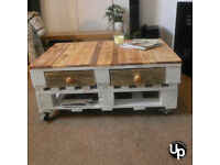 NEW Shabby Chic Coffee Table White Wash bottom - Wood Top - NEW DESIGN