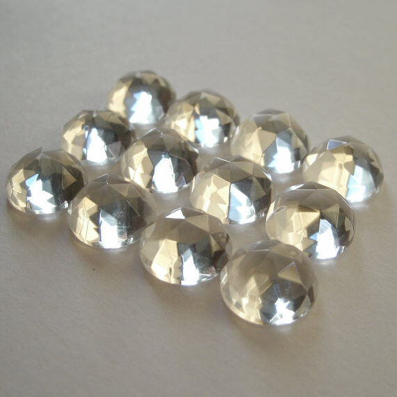 AAA Quality 25 Piece Natural Crystal Quartz 4x4 MM Round Rose Cut Loose Gemstone