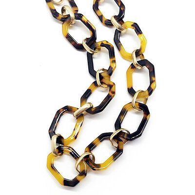 - NEW Tortoise Shell Necklace Gold Tone Link Chain Link Collar Bib Fashion