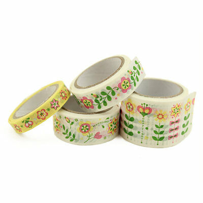 Set of 4 Style Floral Washi Tape Skinny Wide Craft Scrapbooking DIY Flowers