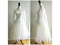 1950's tea length wedding dress