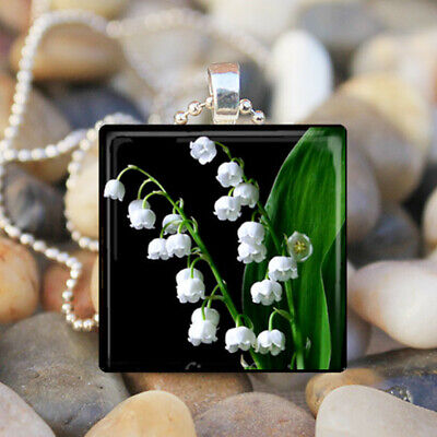 - LILY OF the VALLEY Easter Flowers Lilies Floral Glass Tile Pendant Necklace