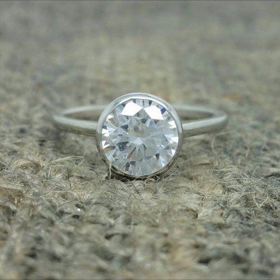 9 mm Solitaire Bezel Set Moissanite Engagement Ring 14k Whit