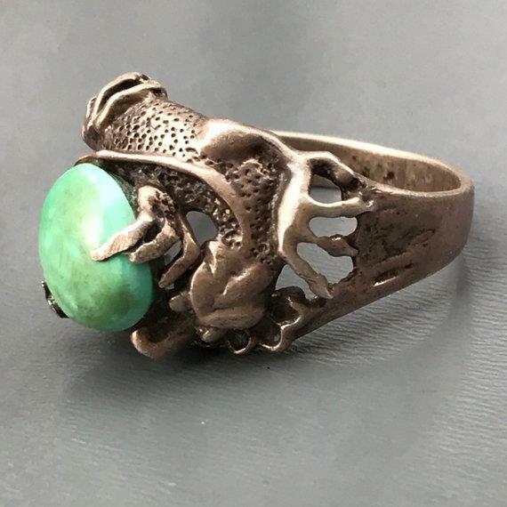 VTG Chinese Sterling Silver Signed Blue Green Turquoise Dragon Ring (9 1/2- 10)