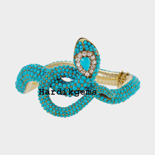 Rosecut Diamond Blue Turquoise Solid 925 Sterling Silver Victorian Snake Bangle
