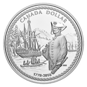 2018 Proof Silver Dollar - Captain Cook at Nootka Sound