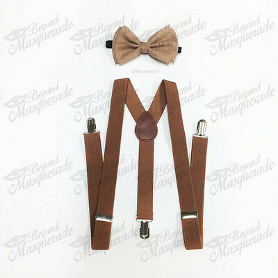 Brown Suspender and Bow Tie Set for Adults Men Women