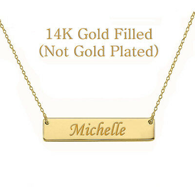 Personalized Roman Numeral Name Bar Necklace 14K Gold Filled Custom Engraved