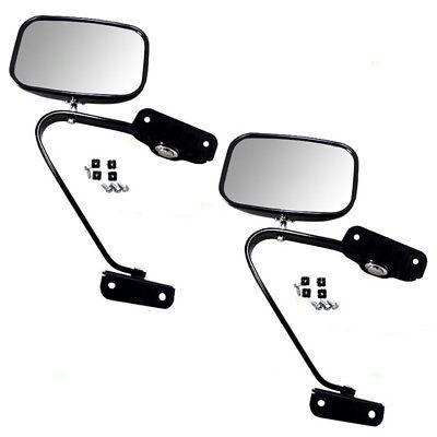 Ford Bronco Pickup Truck Set of Side Manual Black Steel 5x8 Swing Lock Mirrors