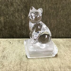 New- Crystal d'Arques Cat on pillow