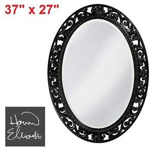NEW HEC BLACK OVAL SUZANNE MIRROR HOWARD ELLIOTT COLLECTION - MIRRORS FURNITURE DECOR BATHROOM POWDER MIRRORS HOME