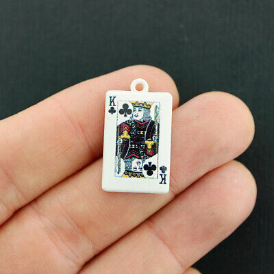 2 Playing Card Charms White Enamel King Of Clubs - (Enameled Club Card)