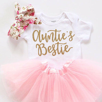 Funny Newborn Baby Girl Clothes Auntie's Bestie Romper+Skirts Tutu Outfits 0-18M
