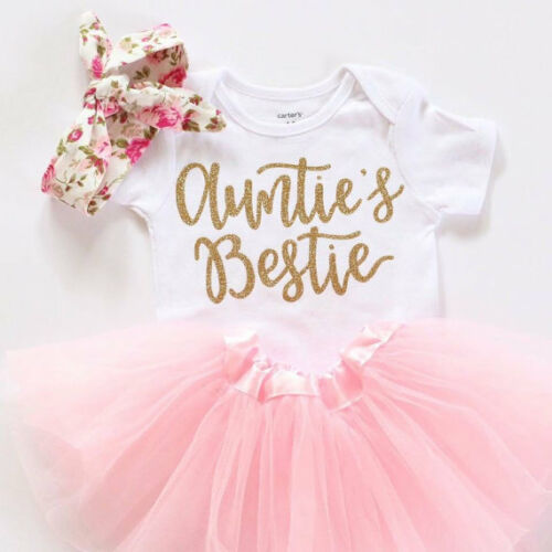 Funny Newborn Baby Girl Clothes Auntie's Bestie Romper+Skirt
