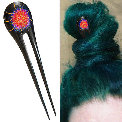 1PC Handcarved Black Paint Exotic Double Prong Hair Stick Galaxy Big Gold - Black Hair Paint