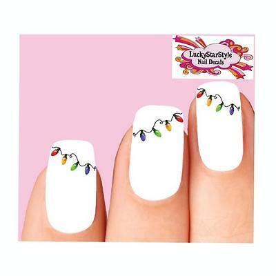Waterslide Holiday Nail Decals Set of 20 - Christmas Lights](Christmas Nail Decals)