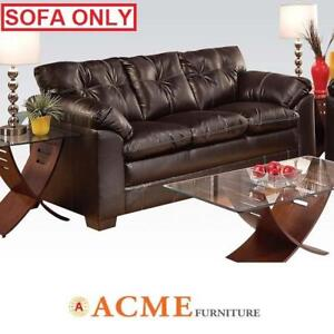 NEW* ACME HAYLEY LEATHER SOFA 50355 142735561 PREMIER CHOCOLATE BONDED  LEATHER COUCH SEATING LIVING ROOM