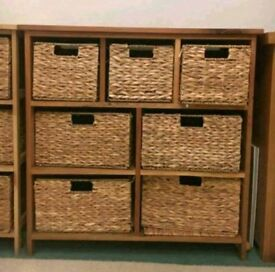 Shelving units and wicker boxes