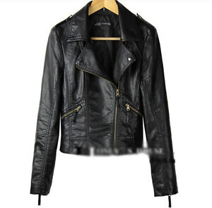 Fashion Vintage Womens Slim Biker Motorcycle PU Soft Leather Zipper Jacket Coat