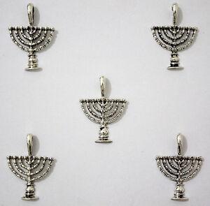 Lot-of-5-Hanukkah-Israel-Menorah-Jewish-Judaica-Pendants-DIY-Jewelry-Kits
