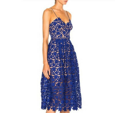 Self Portrait Womens Azalea Lace Fit & Flare Midi Dress Size 4 Cobalt FITTED NWT