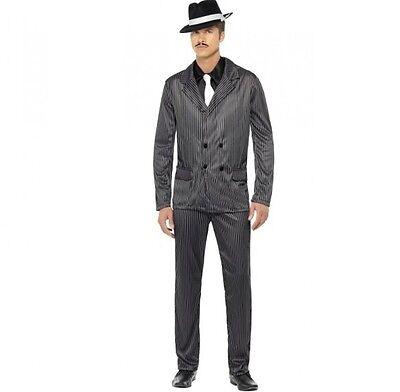 Herren Gangster Maskenkostüm Anzug Schwarz Nadelstreifen von - Gangster Männliche Kostüm