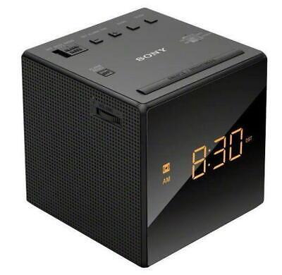 Sony ICF-C1 AM/FM Alarm Clock Radio - Black With Black Face and Amber LED