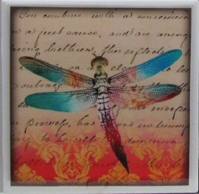- Set of 4 - Natural Stone Ceramic Tile Marble Drink Coasters  - Dragonfly's 2 H