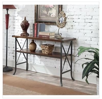 Industrial Console Table Hallway Entry Wood Metal Rustic Furniture Sofa Accent