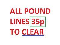 CLEARANCE WHOLESALE ALL POUND LINES 35p JOB LOT SURREY KT12