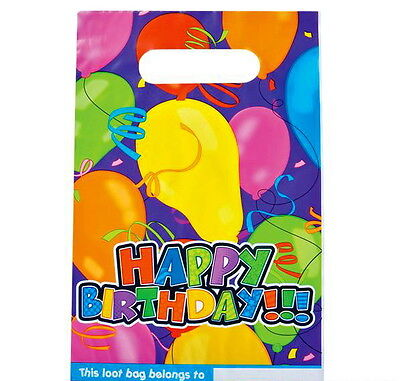24 HAPPY BIRTHDAY PLASTIC PARTY LOOT GOODY BAGS TREAT BAG FAST FREE SHIPPING