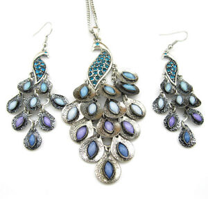 VINTAGE-STYLE-NECKLACE-EARRINGS-SILVER-TONE-STONES-PEACOCK-JEWELRY-SET-1397
