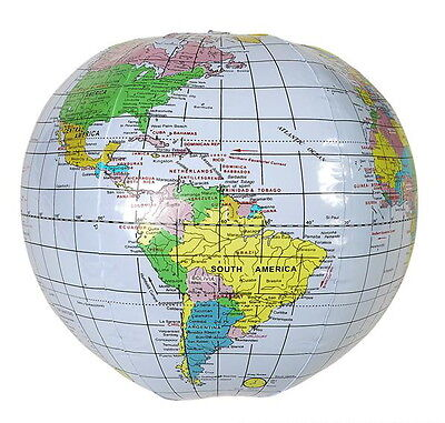 "1  INFLATABLE GLOBE 16"" BEACH BALL INFLATE MAP TEACH WORLD GEOGRAPHY FAST SHIP!!"