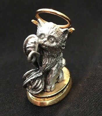 Lil Angels Pewter Cat With Yarn Wings And Halo Figurine