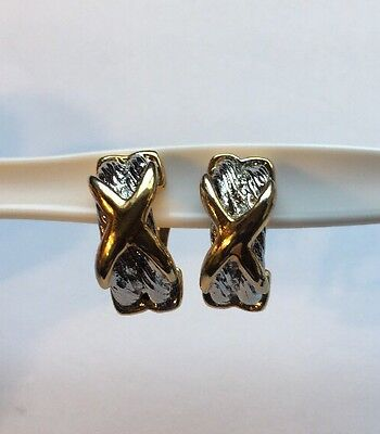 Vintage Gold & Silver Clip On Earrings Jewelry AB-42