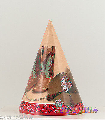 WESTERN CONE HATS (8) ~ Birthday Party Supplies Cowboy Country Favors Boots Whip - Cowboy Birthday Party Supplies