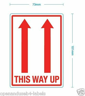 THIS WAY UP LABELS. 5 Self Adhesive 101 x 73 mm Labels / stickers