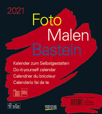 Foto-Malen-Basteln Bastelkalender schwarz 2021, 264021, NEU !!!