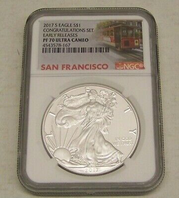 2017 S Am. Silver Eagle Dollar NGC PF 70 ULTRA CAMEO from Congratulations Set ER