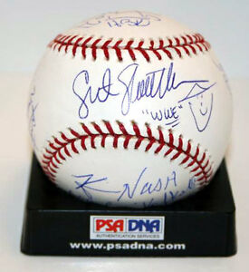 Shawn-Michaels-Bret-Hart-Nash-Slaughter-Baseball-Signed-by-9-WWE-WWF-PSA-DNA-LOA