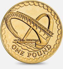 2007 - Gateshead Millennium Bridge – One Pound Coin – Royal Mint Abnormality