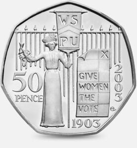 RARE SUFFRAGETTE 50p COIN 2003 GIVE WOMEN THE VOTE - OVER 200 SOLD 2ND AFTER KEW