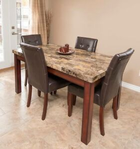 Faux marble dining table w 4 chairs