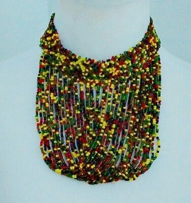 African multicolored Waterfall bib choker handmade Beaded Necklace