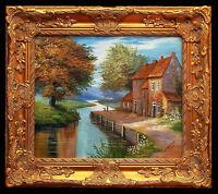 Peinture à l'huile paysage campagne, cadre de bois style baroque