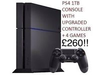PS4 1TB CONSOLE UPGRADED CONTROLLER 4 GAMES