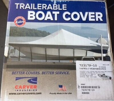 Carver® Cover for Outboard Aluminum V-Hull Boats w/  Walk-Thru Windshield - 17'6