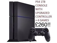 PS4 1TB CONSOLE WITH UPGRADED CONTROLLER + 4 GAMES (2 BRAND NEW)